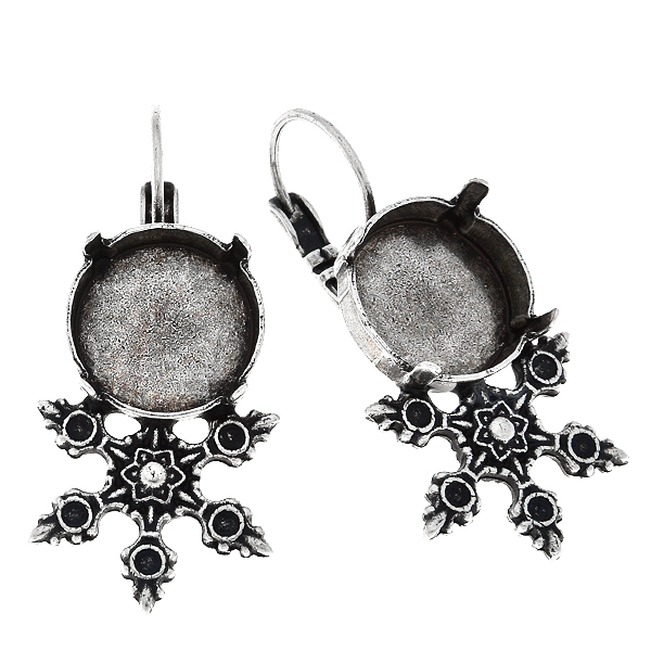 14mm Rivoli stone setting with metal casting Snowflake Leverback Earring bases