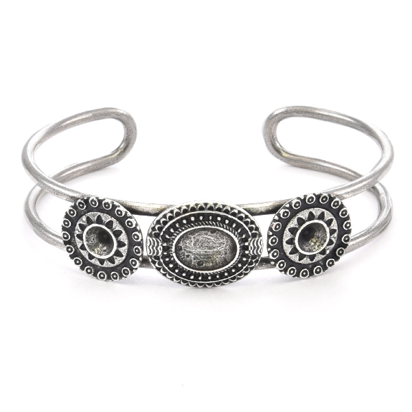 24ss, 10x8mm Oval Ethnic Double Bangle