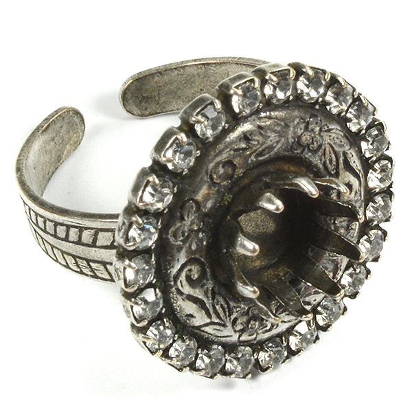 39ss Crown ring base with decorated round and SW rhinestones