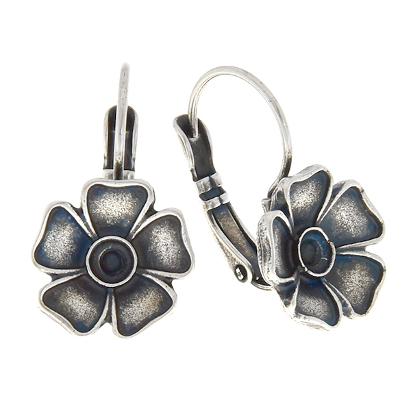 24pp Metal flower leverback earring base