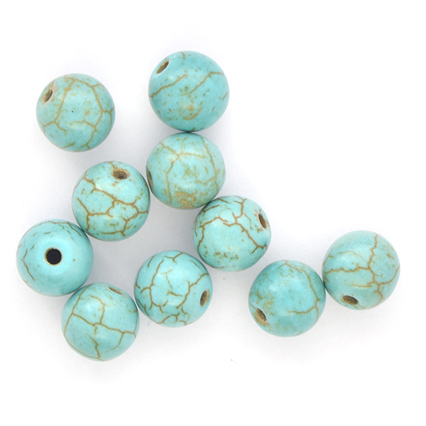 8mm Round natural Turquoise Howlite Beads - 10pcs pack
