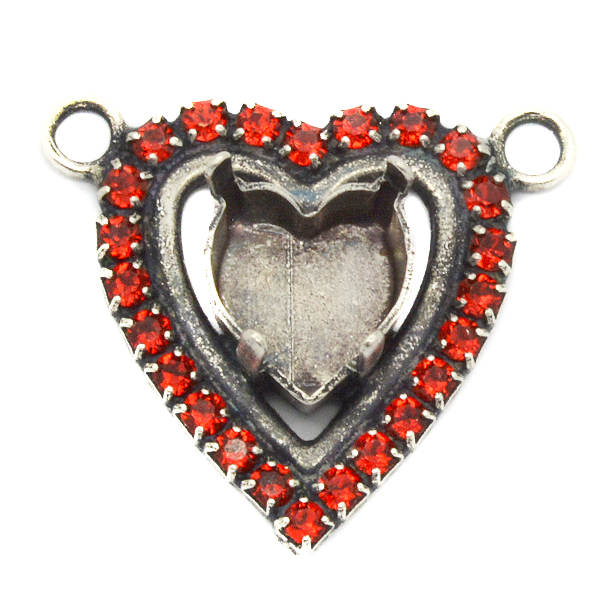 Heart 11X10mm Pendant base with SW rhinestone with two top side loops