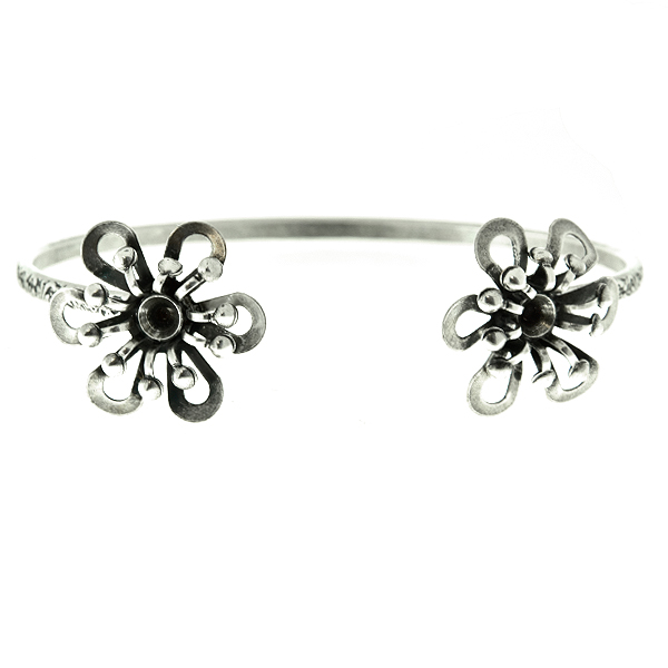 24ss stone settings Metal casting Flower elements on Open Floral bangle bracelet base