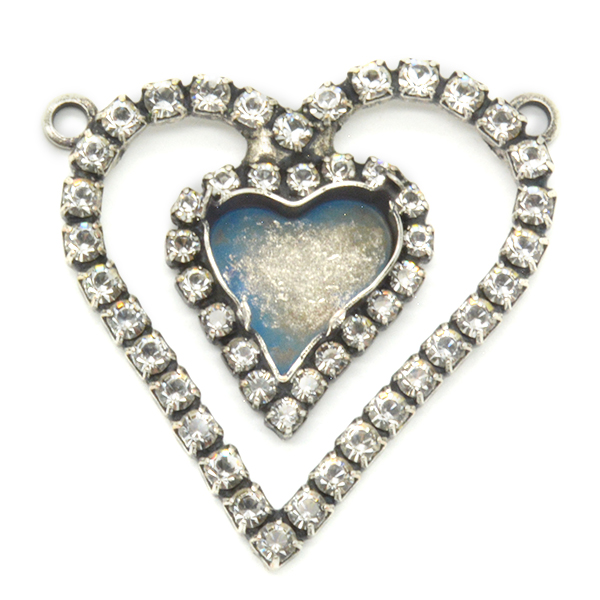 13X12mm Sweet Heart Fancy Pendant base with SW Crystals