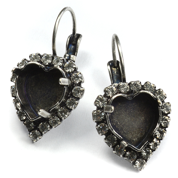 Heart 11-10mm drop earrings base with SW rhinestones