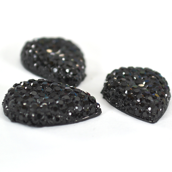 Pear shape 13-18mm Black Sparkle cabochon