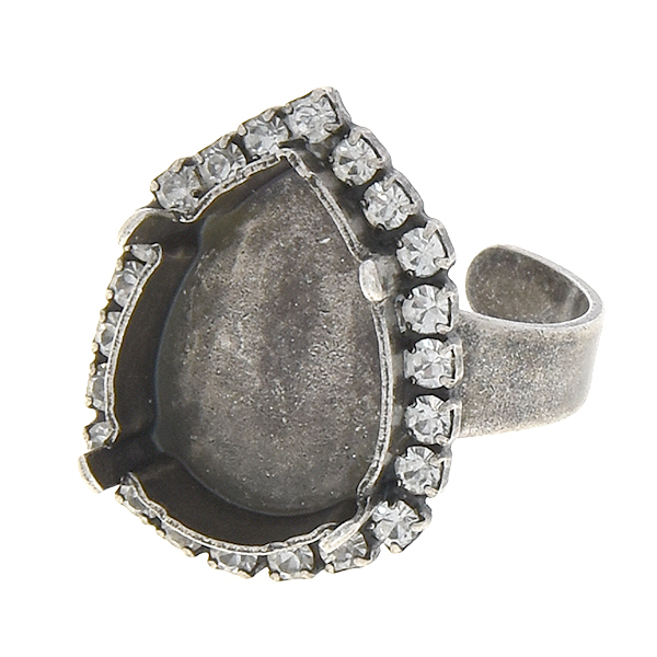 Pear Shape 13-18mm rings base with small crystals around