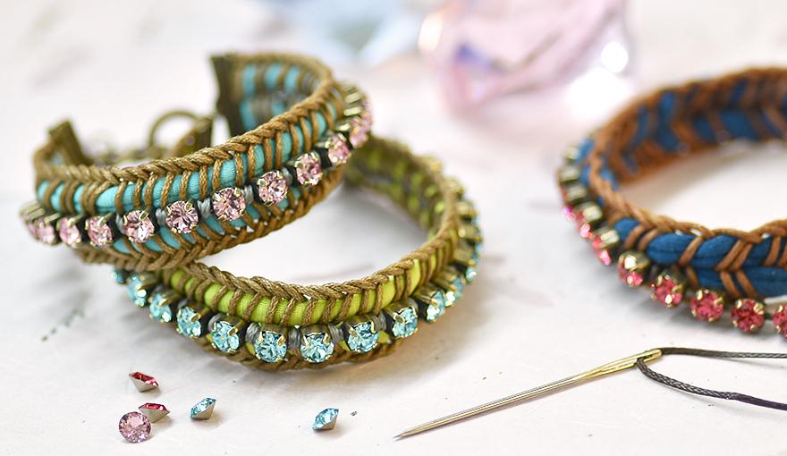 fabric cord swarovski crystals bracelet tutorial. Black Bedroom Furniture Sets. Home Design Ideas
